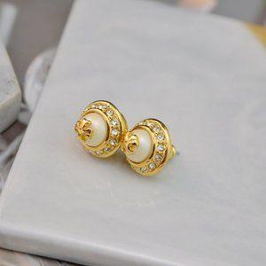 Tory Burch Zircon Pearl Gold Logo Earrings